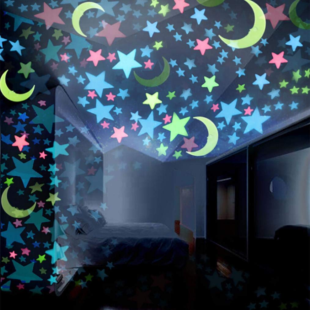 Quaanti Stars Moons Wall Decor,100PC Kids Bedroom Fluorescent Glow in The Dark Stars Moons Wall Stickers (Multicolor)