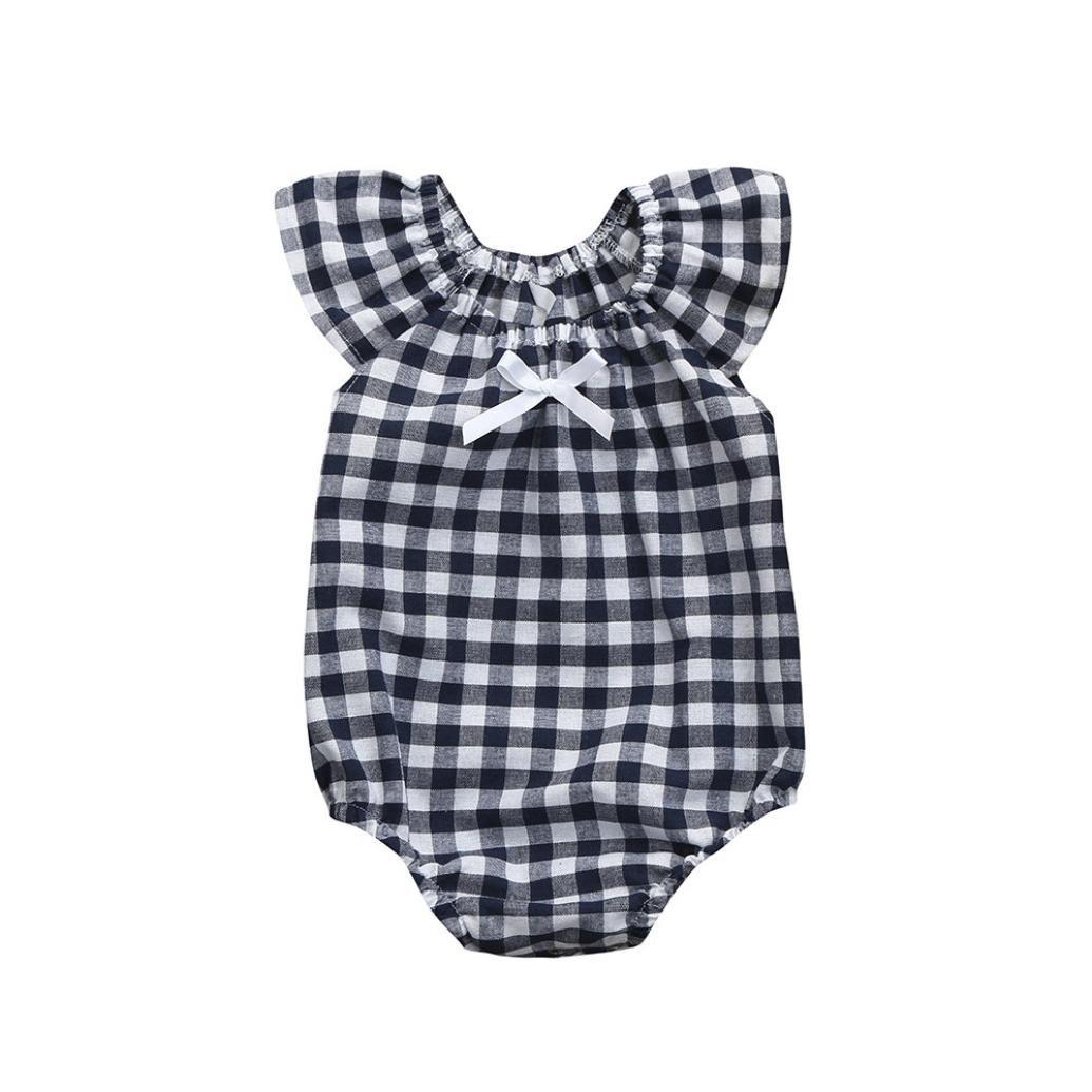 DAY8 Vêtements Bébé Fille Naissance Été Body Bébé Fille 0-3 Ans Chic Barboteuse Pyjama Bébé Fille a la Mode Grenouillère Combinaison Combi Fille Bowknot Imprimé à Carreaux