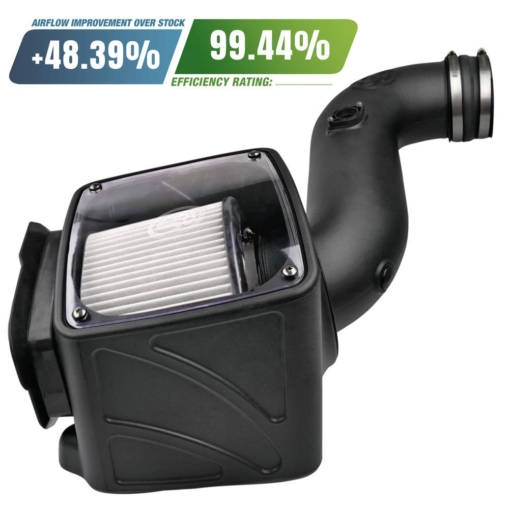 S/&B Filters 75-5080D Cold Air Intake Kit for 2006-2007 Chevy//GMC Duramax LLY-LBZ 6.6L Dry Extendable Filter