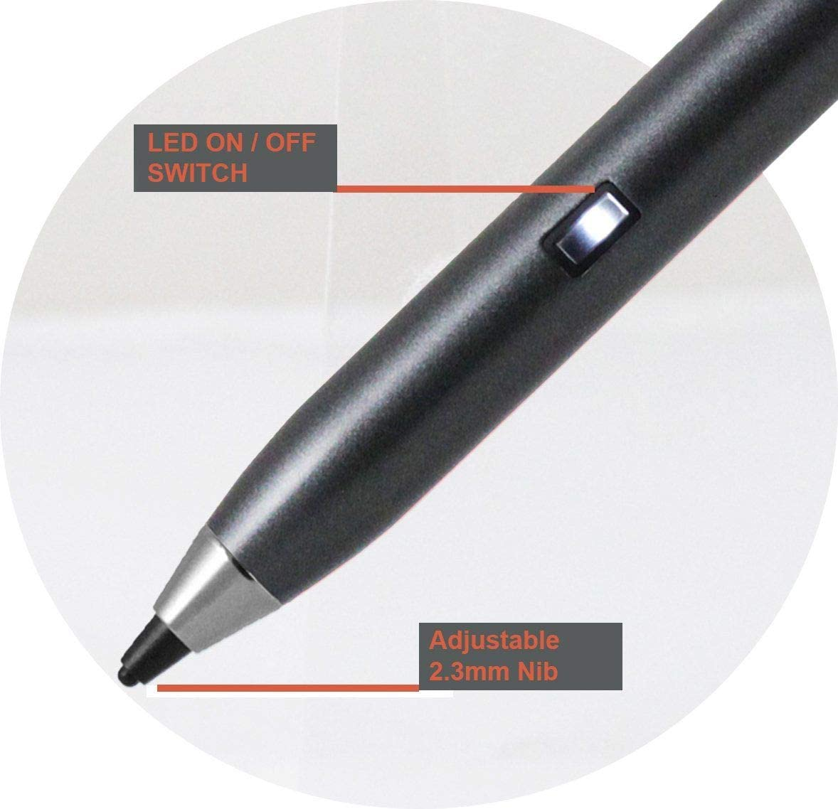 Laptop Broonel Grey Fine Point Digital Active Stylus Pen Compatible with The Lenovo V145-15AST 81MT000SUK