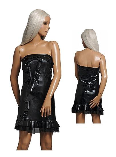 c53c245268807 Amazon.co.jp: スパンコール メタリック ダンス衣装 ワンピース ドレス ダンスドレス ベア チューブ フリルつき フランス製  (ブラック)  服&ファッション小物