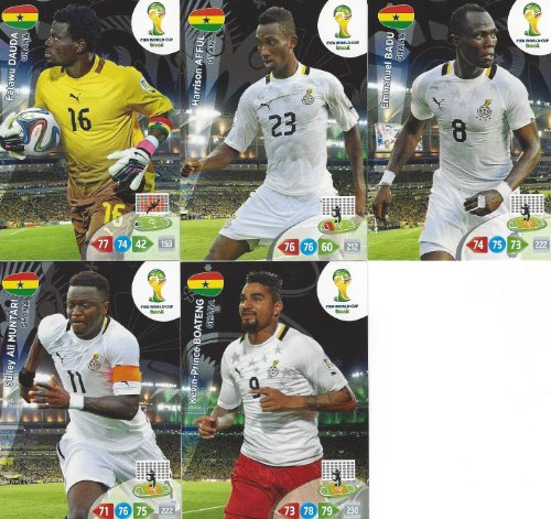 (FIFA World Cup 2014 Brazil Adrenalyn XL Ghana Base Card Team Set)