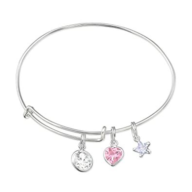 Amazon Com Atik Jewelry Silver Hanging Cubic Zirconia Charms Bangle
