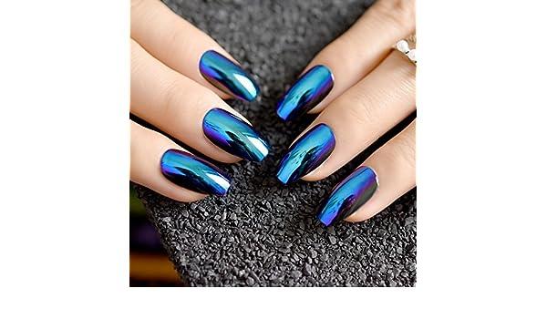 Amazon.com : 24pcs Blue Coffin Design Mirror Nail Art Tip Medium Flat Stiletto Artificial False Nails Women Daily Wear with Glue Sticker Z757 : Beauty