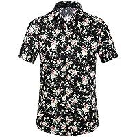 SSLR de los hombres flor Buttondown playera de manga corta, L, Negro rosado