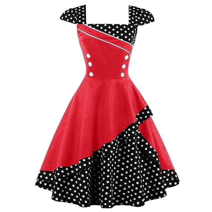 Là Vestmon Abito da cocktail retrò da donna Polka Dots Party Dress Vintage  Rockabilly Dress Gonna a pieghe manica corta  Amazon.it  Abbigliamento 5a52cac4f14
