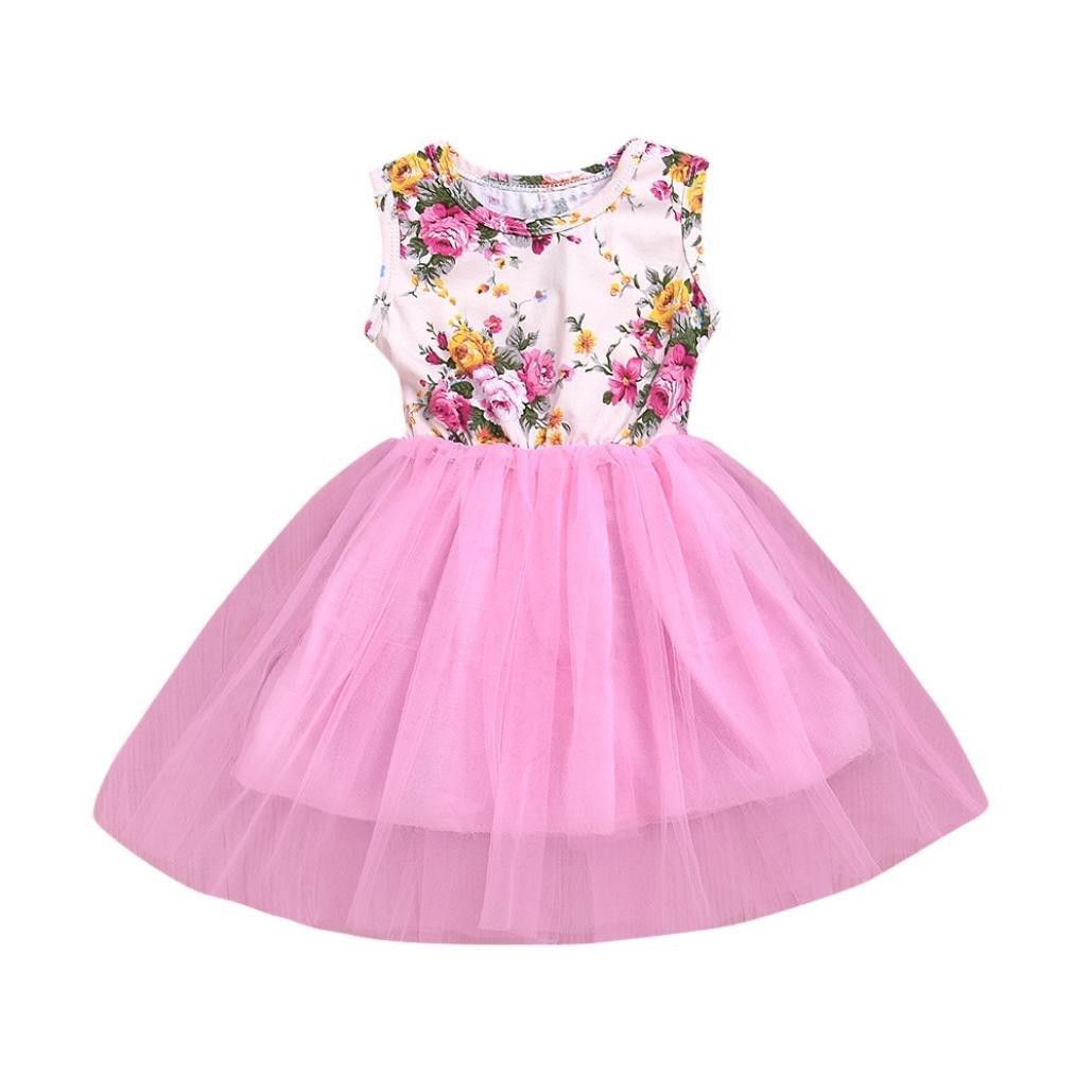 Kobay Toddler Baby Girls Floral Dress Bow Sleeveless Princess Tutu Dress Fancy Party Dress Clothes 1-4 Years Princess