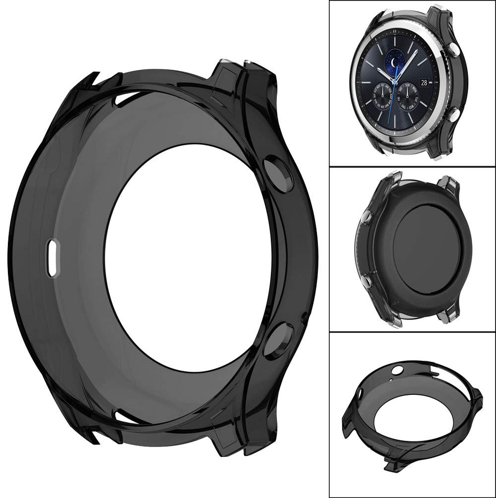 OUBAO Case Cover Thin Protect Shell Soft Ultra-Slim TPU Protect Youth Watch Screen Protector Full 360 Protection Gel Bumper for Sam Sung Gear S3 Classic (Black) by OUBAO (Image #2)
