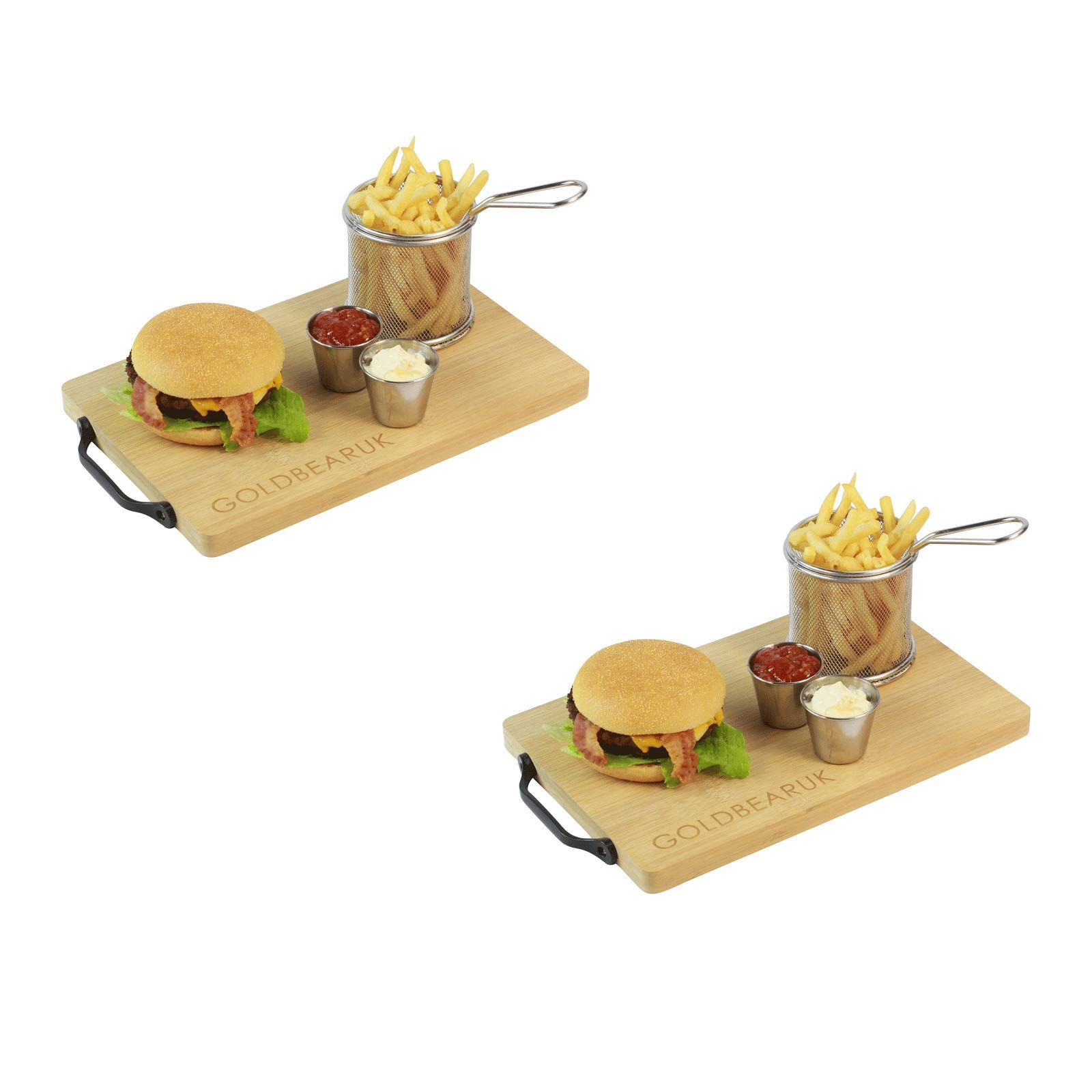 Luxury Burger Set - Wooden Serving Boards + Stainless Steel Chip Fry Basket + Stainless Steel Silver Ramekins (2 Person)