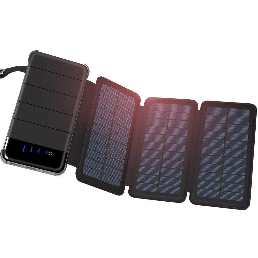 Solar Charger 30000mAh, Foldable Portable 3 Solar Panels External Backup Battery Charger, for Hiking, Climbing, Camping and Other Outdoor Activities Monllack