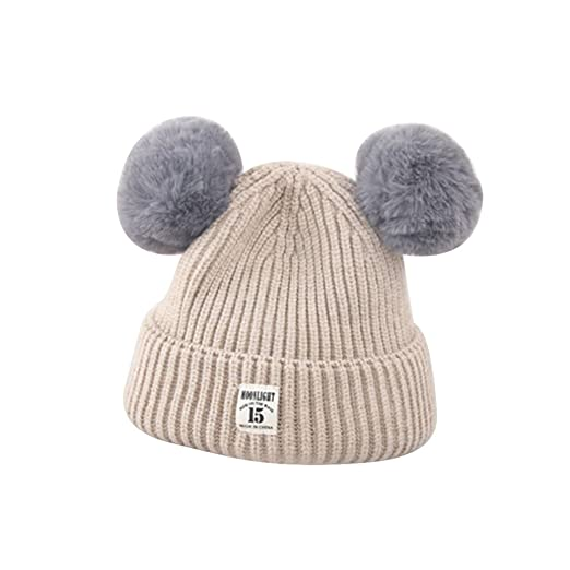 6376ef646e9 minishop659 Kids Baby Cute Fluffy Ball Ears Warm Knitted Winter Beanie Hat  - Beige