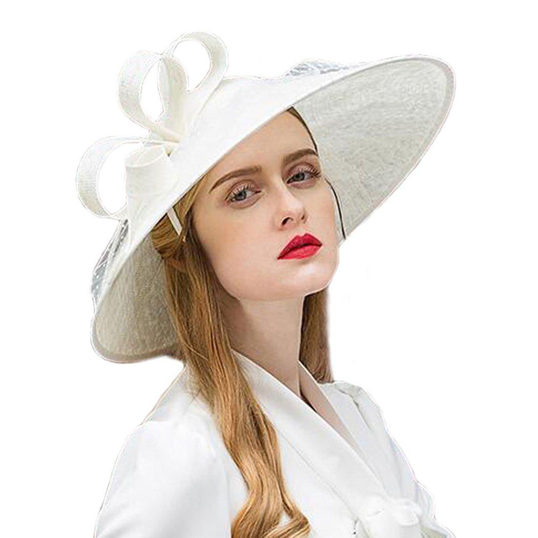Womens Fascinators Linen Church Large Brim Kentucky Derby Fedora White Sun Hat
