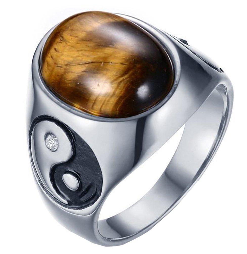 PAMTIER Men's Stainless Steel Oval Tiger Eyes Ring with Yin Yang Tai Ji Pattern Size 11