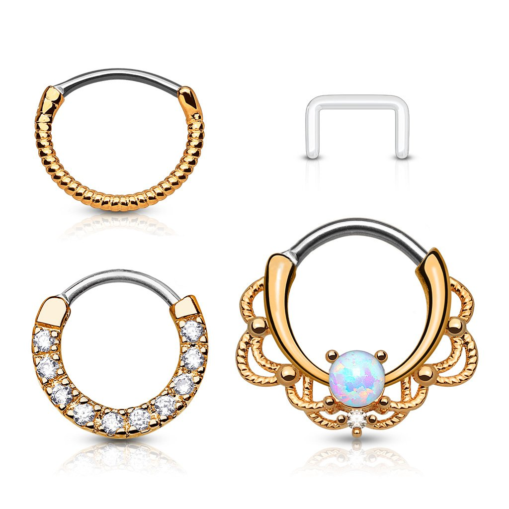 Fifth Cue 16G 3pc Assorted 316L Surgical Steel Nose Septum Ear Cartilage Clicker Ring Set (Rose Gold) by Fifth Cue