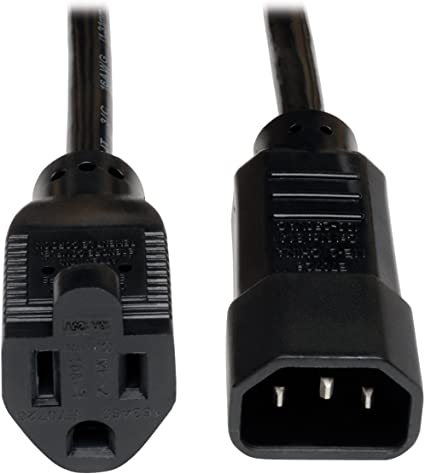 10-Pack CableCreation 1 Foot 18AWG Standard Computer Power Adapter Cord NEMA 5-15R Receptacle to IEC320 C14 0.3M//Black