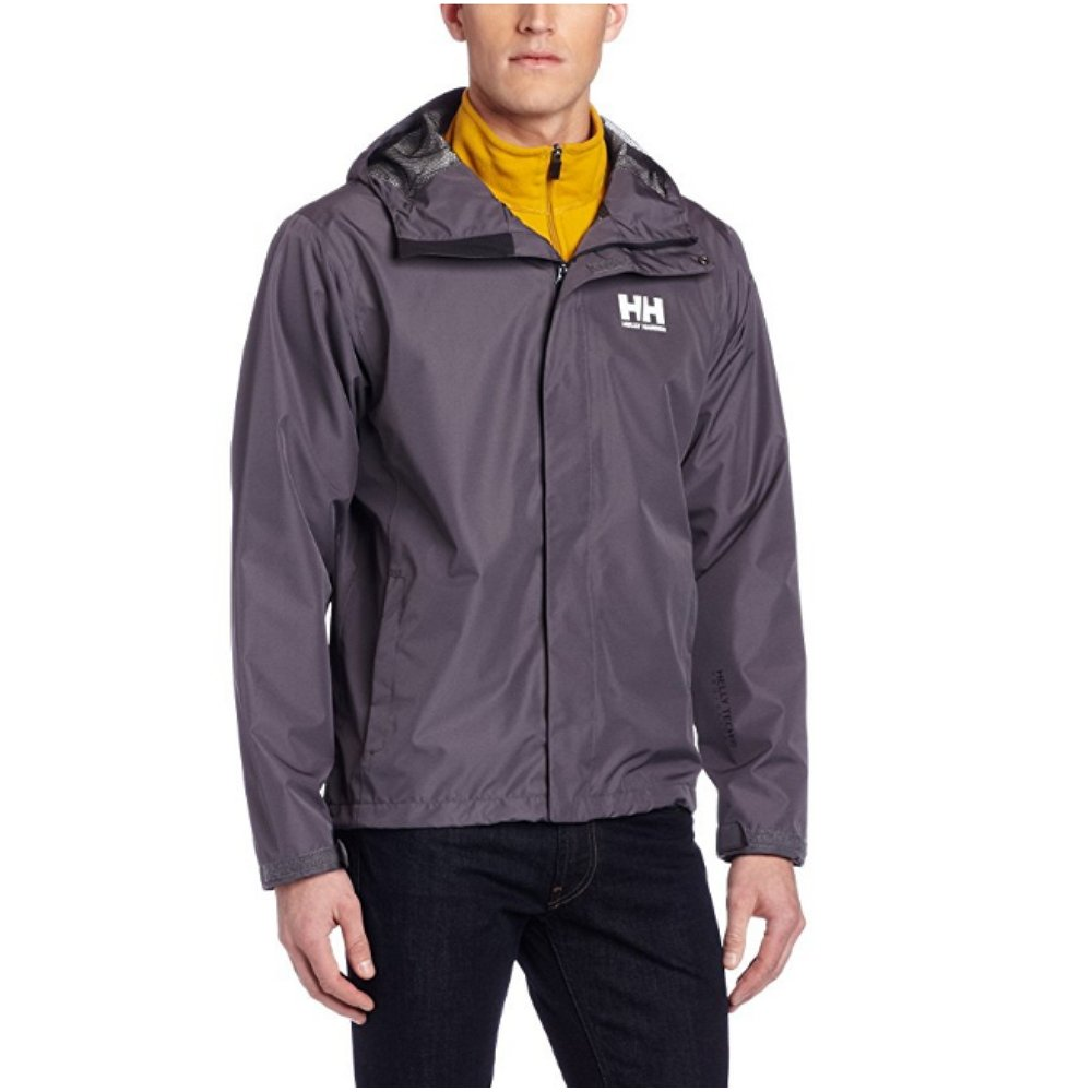 Helly Hansen Men's Seven J Waterproof, Windproof, and Breathable Rain Jacket with Hood 62047