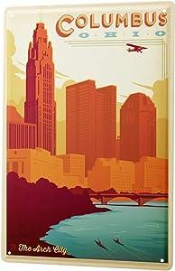 LEotiE SINCE 2004 Tin Sign Metal Plate Decorative Sign Home Decor Plaques Deco City Columbus Ohio 8X12