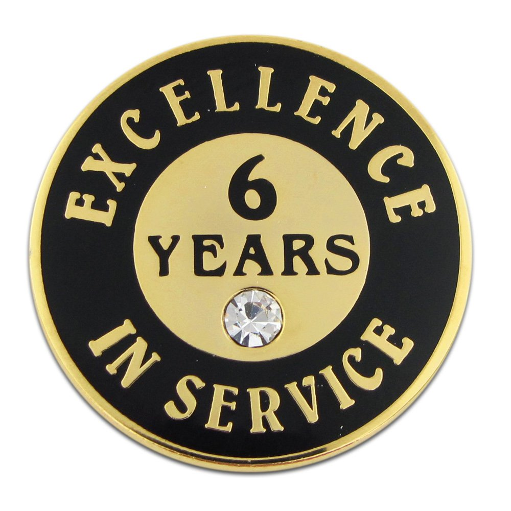 PinMart Gold Plated Excellence in Service 6 Year Award Lapel Pin