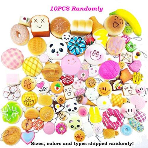 Price comparison product image Bingole 10PCS Kawaii Random Squishy Soft Panda Bread Buns Donuts Toasts Toys Bag Phone Strap Pendants Charms