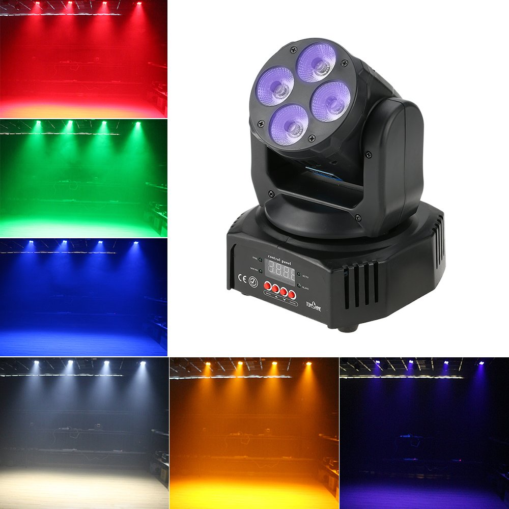 Tomshine 60W Moving Head Lights 6 IN1 DMX-512 16/18 Channels Stage Lighting Sound Activated Spotlight RGBW+Amber+UV for Party KTV Pub Bar Disco Dj Show Wedding Ceremony by Tomshine