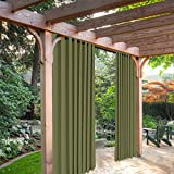 Cheap SeeSaw Home Mildew Resistant Thermal Insulated Outdoor Curtains/Draperies for Patio or Front Porch Eyelet Grommet, 52W By 84L Inch, 1 Panel, Green