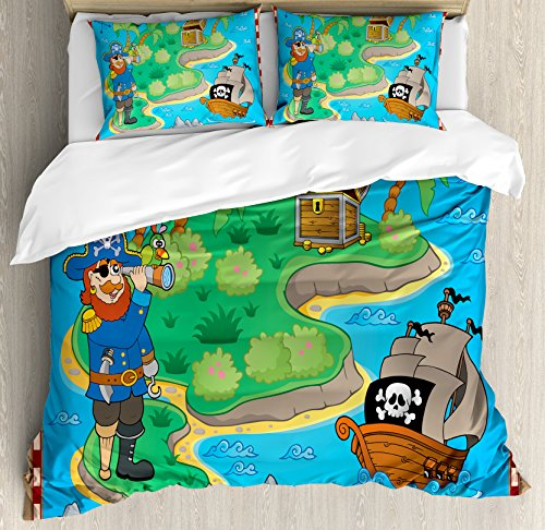 Island Map Duvet Cover Set by Ambesonne, Funny Cartoon of Treasure Island with A Pirate Ship and Parrot Kids Play Room, 3 Piece Bedding Set with Pillow Shams, Queen / Full, Multicolor by Ambesonne