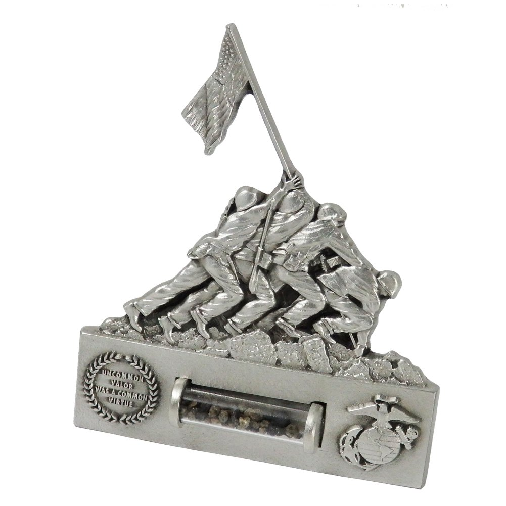 Indiana Metal Craft US Marine Corps Iwo Jima Stand Up Medallion with Authenticated Volcanic Ash. Made in USA.