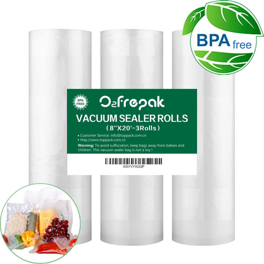 3 Pack 8''x20'(3Rolls) Vacuum Sealer Rolls Commercial Grade Bag Rolls for Food Saver and Sous Vide, BPA Free and FDA Approval (Total 60feet) by O2frepak
