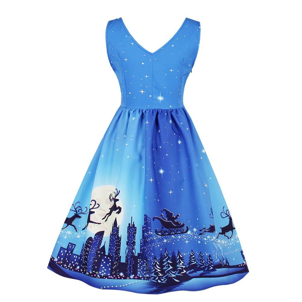 GLOGLOW Women Vintage Dress Christmas Printing V-Neck Sleeveless Party Casual Swing Dress