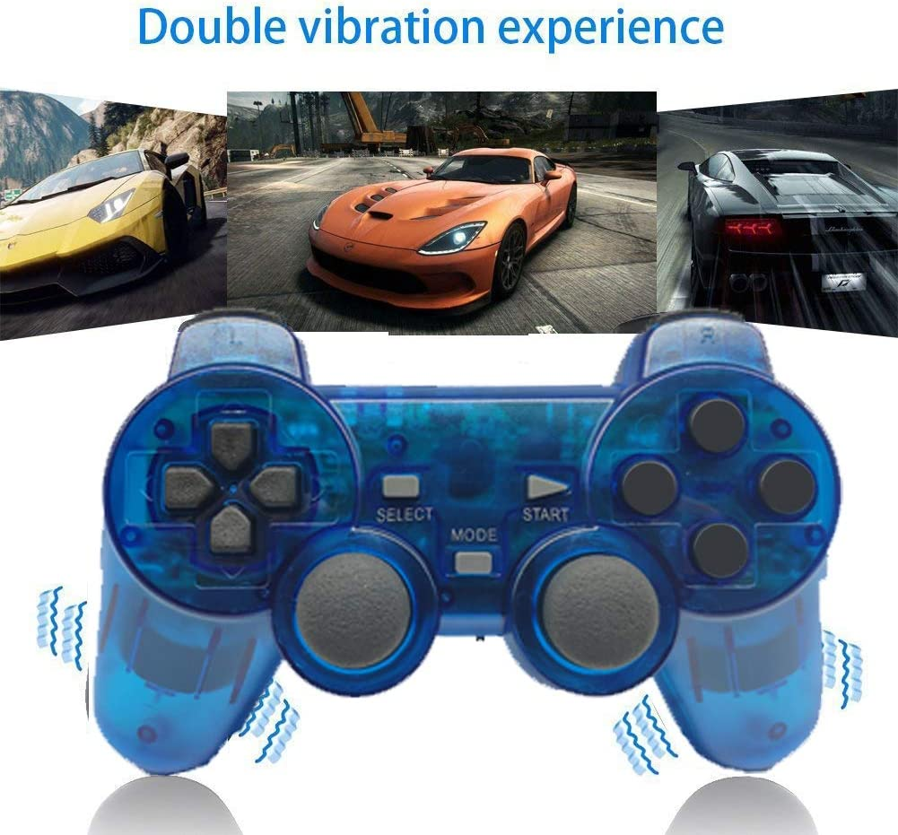 Wireless Controller for PS2 Playstation 2 Dual Shock(ClearBlue)