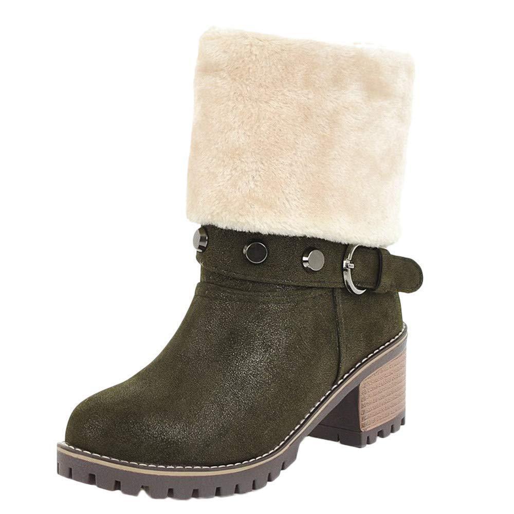 Botas de invierno para mujer, correa de hebilla de moda Cálido Botas de tubo medio Zapatos Casual Tacones impermeables del bloque Botas Cómoda Bota plegable ...