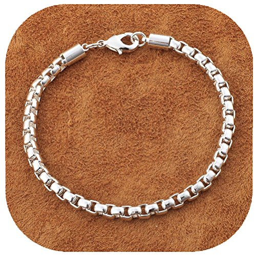 IVYRISE Jewelry Silver Exquisite Small Chain Bracelet Bangle 8 Inch