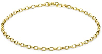Carissima Gold Women's 9 ct Yellow Gold Hollow 4 mm Oval Belcher Chain Bracelet