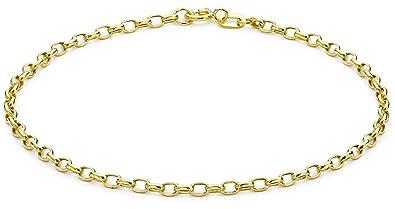 Carissima Gold Women's 9 ct Yellow Gold Hollow 2 mm Diamond Cut Oval Belcher Chain Bracelet of Length 19 cm/7.5 Inch 0F8Sj6Ta