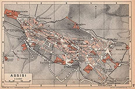 Amazon assisi vintage town city map plan pianta della citt assisi vintage town city map plan pianta della citt italy 1958 old map altavistaventures Image collections