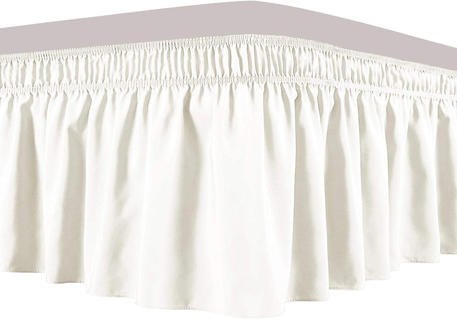 Obytex Wrap Around Bed Skirts, Cotton Bedskirt Elastic Dust Ruffle Silky Soft & Wrinkle Free Classic Stylish Look in Your Bedroom (Cream, Twin/Full)