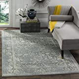 Safavieh Adirondack Collection ADR109T Slate and Ivory Oriental Vintage Distressed Area Rug (4′ x 6′) For Sale