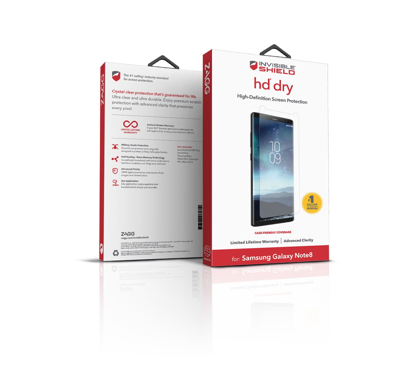 ZAGG – InvisibleShield HD Dry Film Screen Protector – Samsung Galaxy Note 8 Screen Protector – Advanced Clarity – Reduced Scratch Protection – 3X Shatter Proof