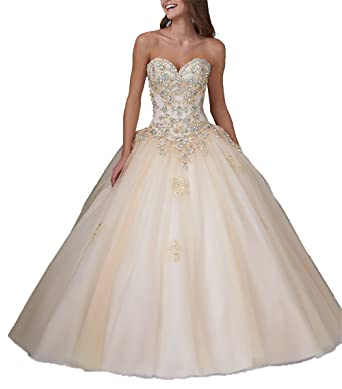 JinJia Women Lace Appliqued Quinceanera Dress Sweetheart Long Tulle Prom Dresses Gown 0 US Champagne