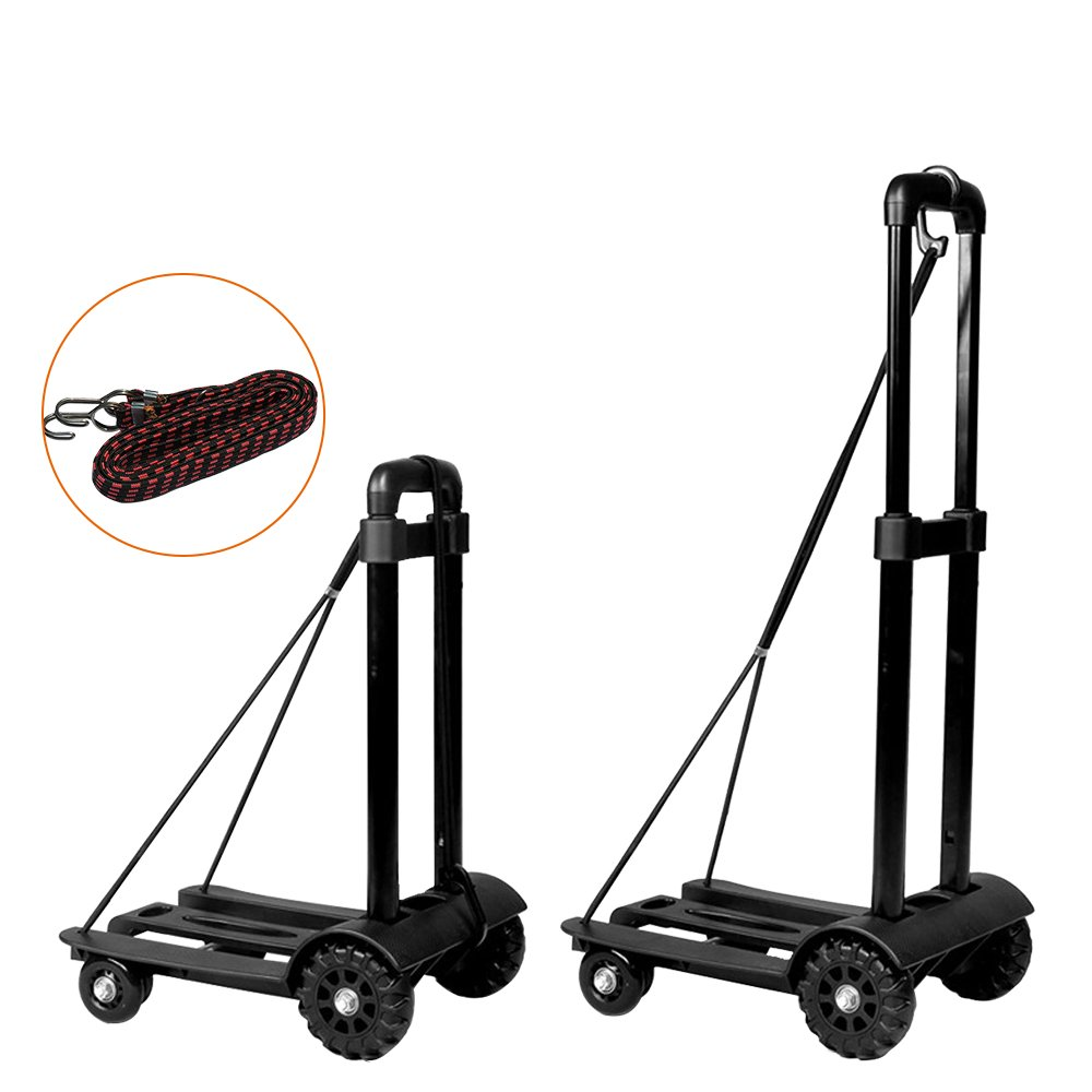 LOHOME Folding Hand Truck Portable Folding Push Truck Trolley Luggage Flatbed Dolly Cart Hand Collapsible Truck Shifter with Rope random color