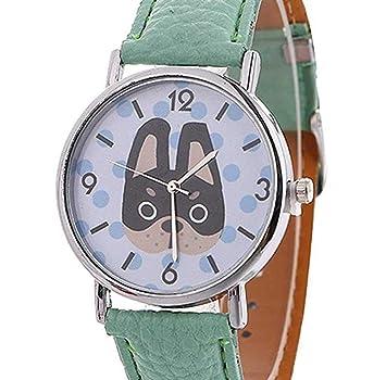 Limpieza de venta! Relojes para mujer, ICHQ hembra animal patrón reloj único simulación dama dibujos animados perro mujer reloj cómodo PU cuero reloj ...