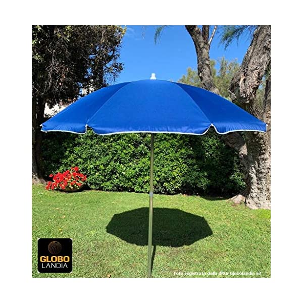 GLOBOLANDIA SRL 89503BLU - Ombrellone Parasole da Spiaggia in Alluminio da 220 cm con Snodo per la Reclinazione Colore… 1 spesavip