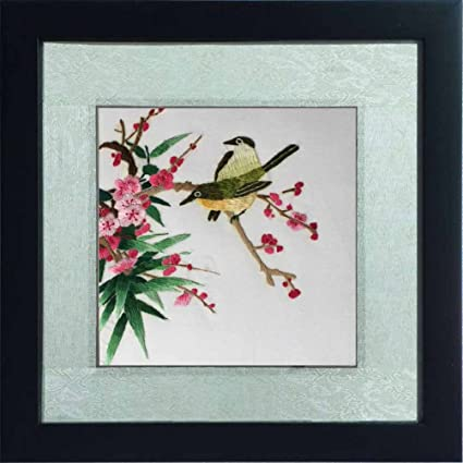 100% Handmade Silk Embroidery Painting  Framed Silk Art Birds Playing in the Red Flowers & Amazon.com: 100% Handmade Silk Embroidery Painting Framed Silk Art ...