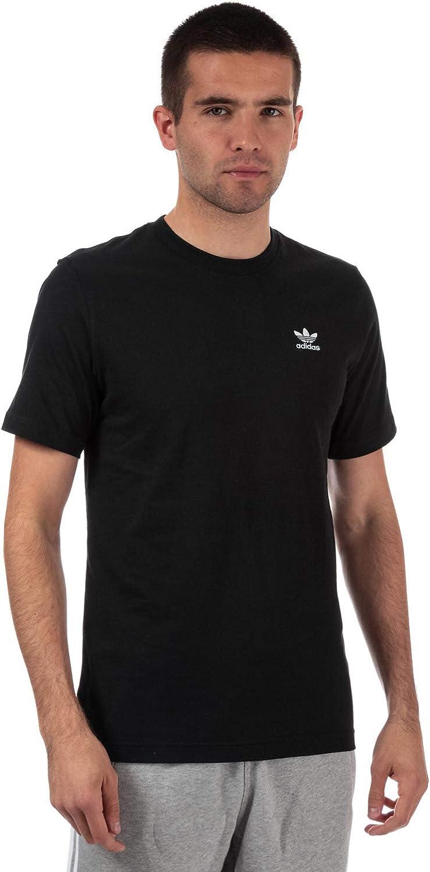 adidas Originals - Camiseta para Hombre con Logo Esencial en Color Negro y Cuello Redondo