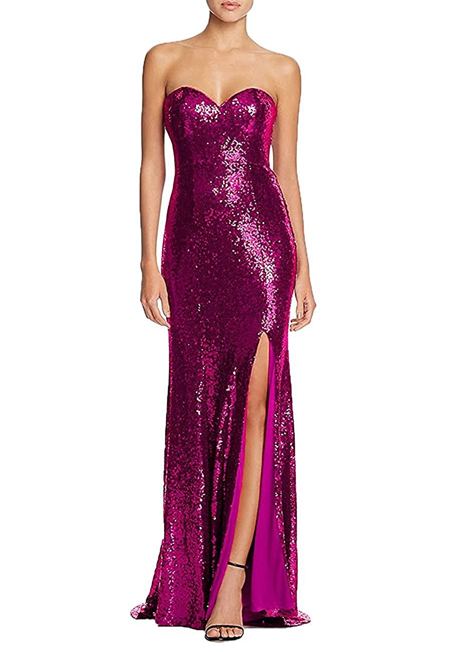 Fushia LL Bridal Women's  High Slit Mermaid Prom Dresses 2018 Long Formal Gowns LLAP164