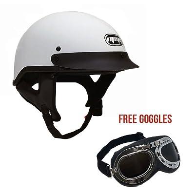 Motorcycle Half Helmet Cruiser DOT Street Legal (M, White) + FREE Goggles Chrome Vintage Pilot Style