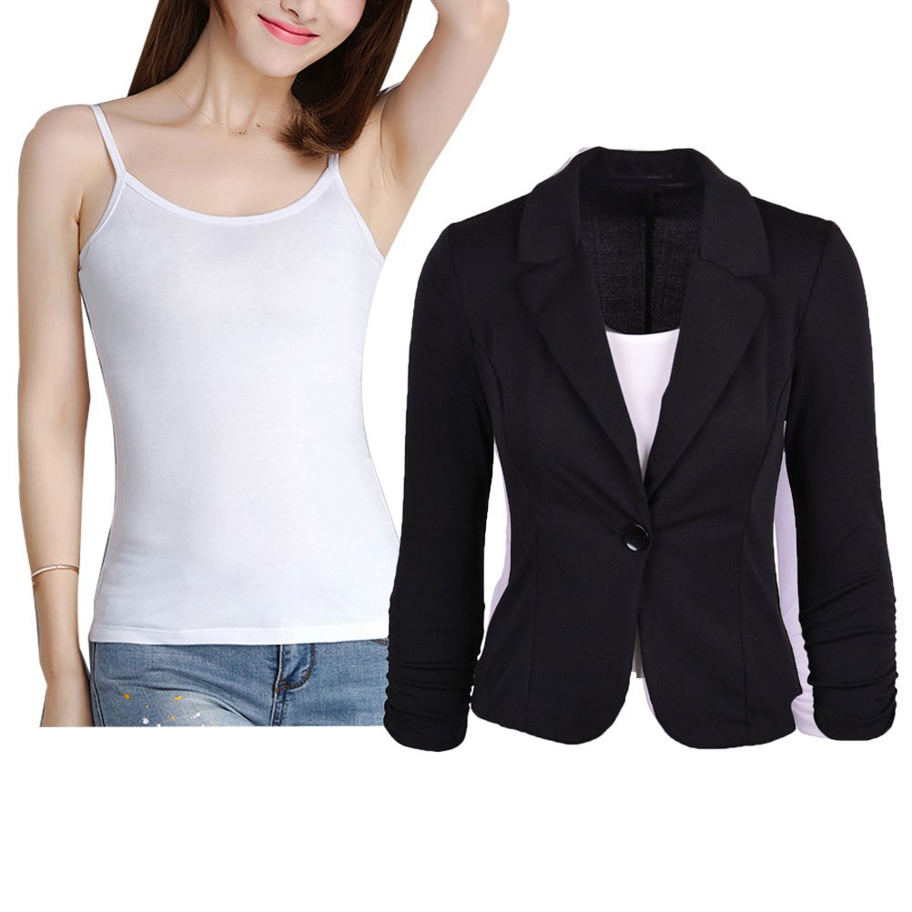 Donalworld Womens Slim Blazer Jacket Suit Work Casual Basic Button Coat BK Tag 2XL