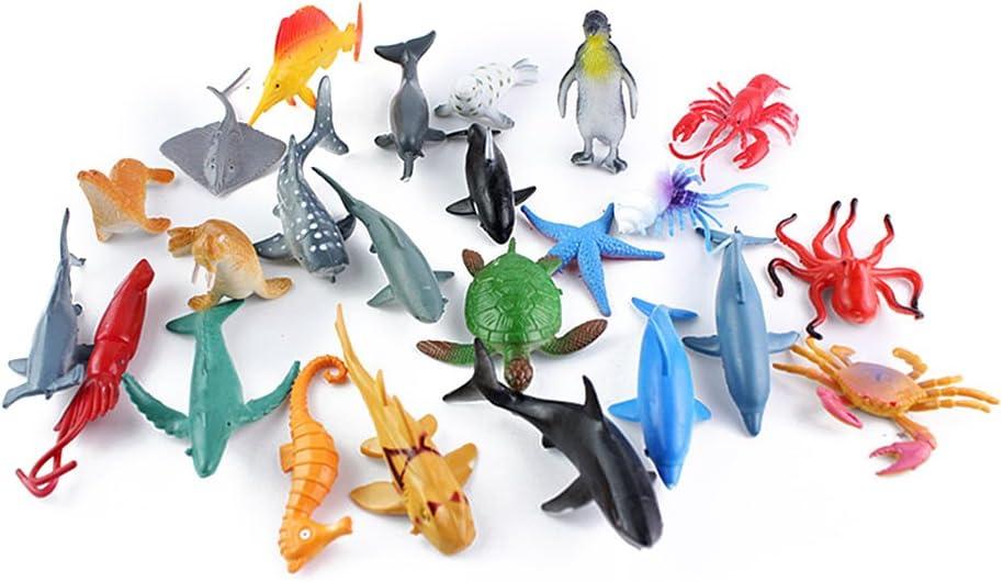 TOYMYTOY 24pcs plástico Sea Animal Figure Set Realistic Animal Toys Mini Sea Animal Party Favors para niños pequeños (Mix Model)