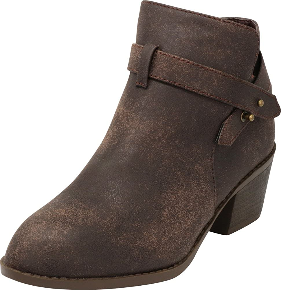 Cambridge Select Womens Moto Strappy Chunky Stacked Block Heel Ankle Bootie