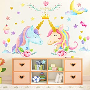 Princess Unicorn Wall Stickers Gifts for Boys Girls Wall Decals with Lovely Stars Birthday Kids Bedroom Decor Nursery (3PCS)